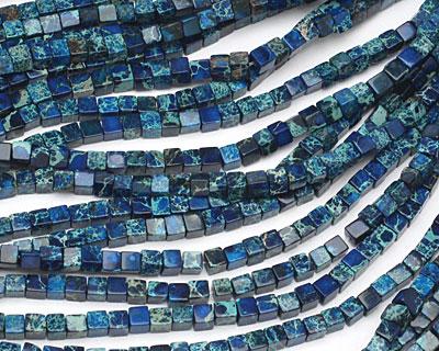 Midnight Blue Impression Jasper Cube 4mm