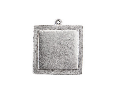 Nunn Design Antique Silver (plated) Raised Tag Small Square Pendant 30x33mm