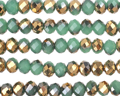 Green Opal & Metallic Antique Gold Crystal Faceted Rondelle 6mm