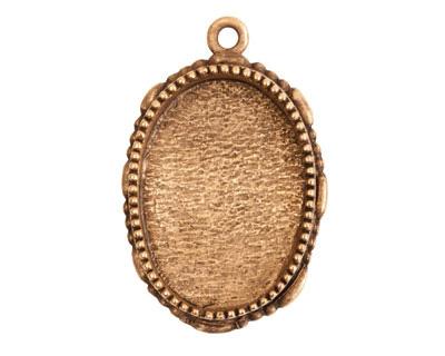 Nunn Design Antique Gold (plated) Large Ornate Oval Bezel Pendant 23x35mm