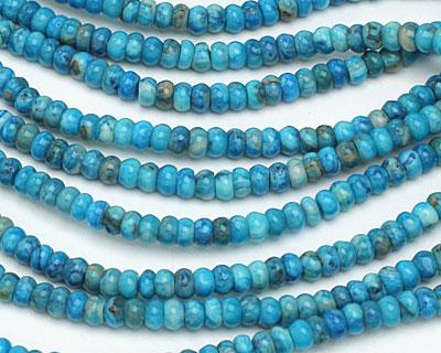 Larimar Blue Crazy Lace Rondelle 4mm