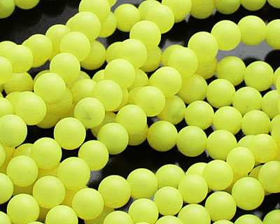 Neon Yellow Shell Pearl Round 4mm