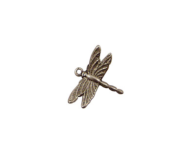 Stampt Antique Pewter (plated) Dragonfly Charm 15x13mm