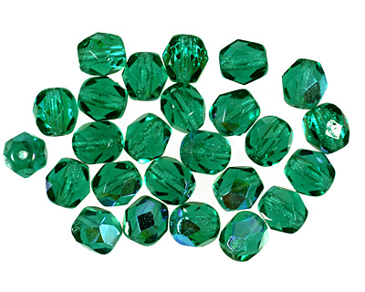 Czech Fire Polished Glass Emerald AB Round 6mm