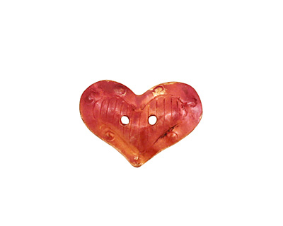 Patricia Healey Copper 2 Hole Puffy Heart Button 20x14mm
