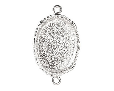 Nunn Design Sterling Silver (plated) Large Ornate Oval Bezel Link 39x23mm
