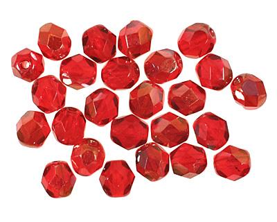 Czech Fire Polished Glass Twilight Siam Ruby Round 6mm