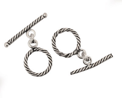 Antique Silver (plated) Rope Toggle Clasp 15mm, 26mm bar
