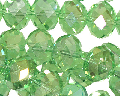 Peridot AB Crystal Faceted Rondelle 14mm