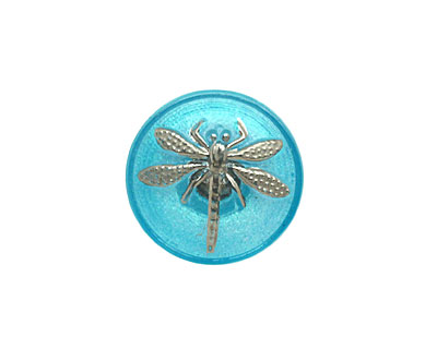 Czech Glass Caribbean Blue w/ Metallic Silver Dragonfly Button 18mm