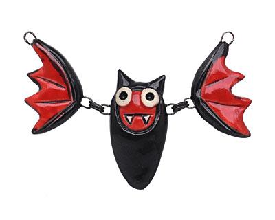 Earthenwood Studio Ceramic Black & Red Linked Bat Pendant 70x37mm