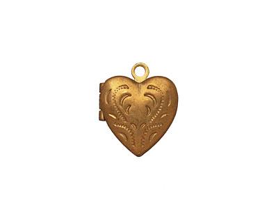 Brass Tiny Pressed Heart Heirloom Locket 13x15mm