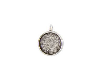 Nunn Design Antique Silver (plated) Small Circle Bezel Pendant 19x27mm