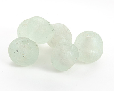 African Recycled Glass Seafoam Tumbled Rondelle (large hole) 19-22x22-25mm