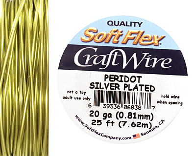 Soft Flex Silver Plated Peridot Craft Wire 20 gauge, 25 ft