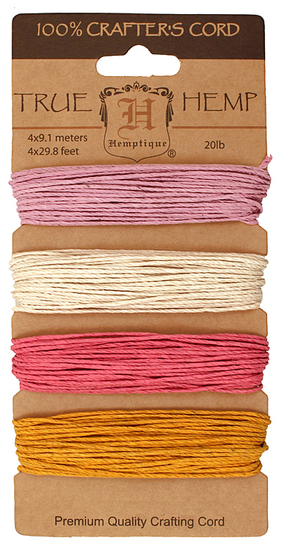Spring Bloom #2 Hemp Twine 20 lb, 29.8 ft x 4 colors
