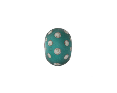 A Beaded Gift Silvered Teal w/ Polka Dots Tumbled Glass Rondelle 9-10x14-15mm