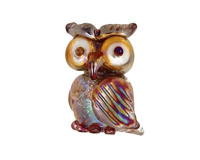 Unicorne Beads Tahitian Vanilla Owl 23x19mm