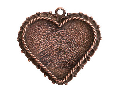 Nunn Design Antique Copper (plated) Large Ornate Heart Bezel Pendant 40x37mm