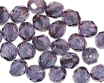 Czech Fire Polished Glass Luster Transparent Amethyst Round 8mm