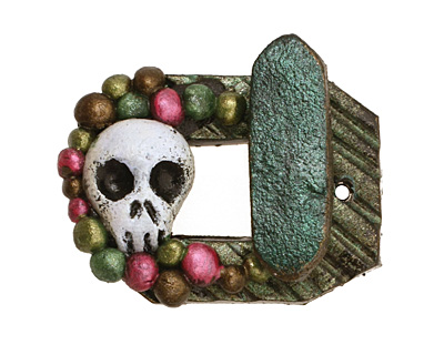 Poison Tree Polymer Clay Green Skull Toggle Clasp 27x22mm, 21mm bar