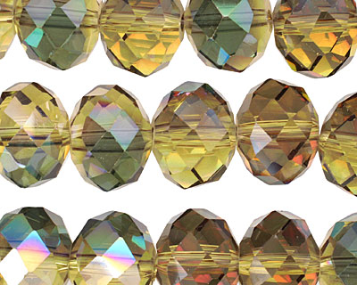 Iris Chartreuse Crystal Faceted Rondelle 14mm