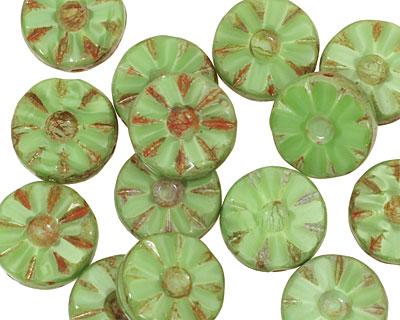 Czech Glass Apple Green Picasso Flower Window Coin 12mm