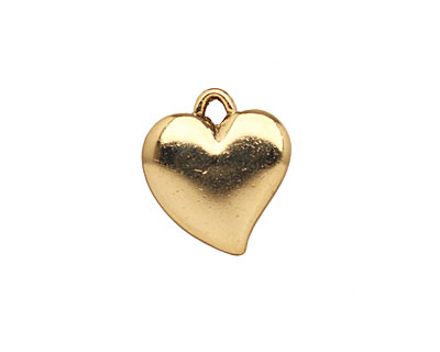 Stampt Antique Gold (plated) Curving Heart 16x18mm