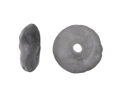 African Recycled Glass Crackled Storm Gray Tumbled Donut 17-19mm