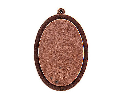 Nunn Design Antique Copper (plated) Raised Tag Grande Oval Pendant 32x47mm