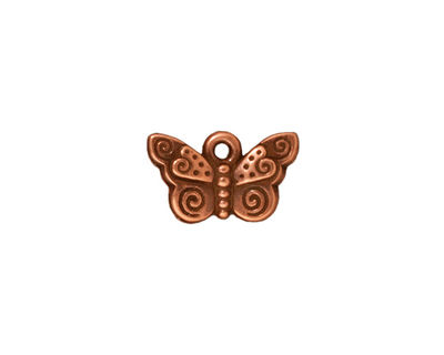 TierraCast Antique Copper (plated) Spiral Butterfly Charm 15x19mm