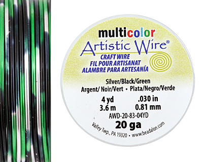 Artistic Wire MultiColor Silver/Black/Green 20 Gauge, 4 Yards