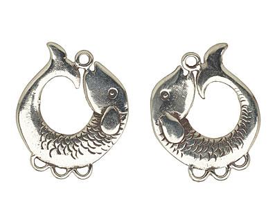 Saki White Bronze Koi Earring Chandelier Pair 25x23mm