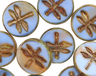 Czech Glass Clay River Dragonfly Coin 17mm