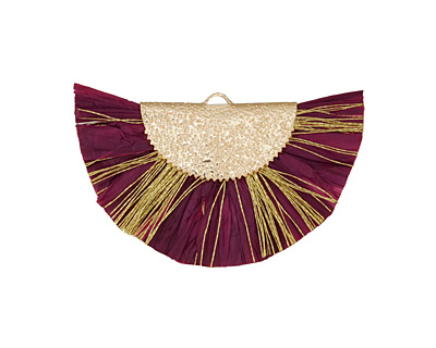 Plum w/ Metallic Gold Fringed Raffia Focal 45x27mm
