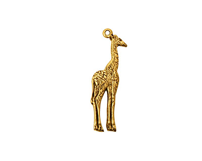 Stampt Antique Gold (plated) Giraffe Charm 7x23mm