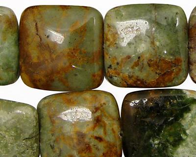 Petrified Green Opal Puff Square 20mm
