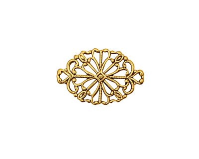 Stampt Antique Gold (plated) Fancy Oval Filigree Connector 20x13mm