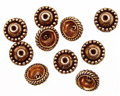 Antique Copper Bead Cap with Beaded Rings 9.5mm