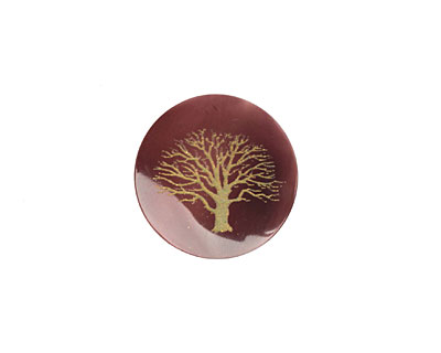 Lillypilly Celadon Tree of Life Tab Shell Round Cabochon 20mm