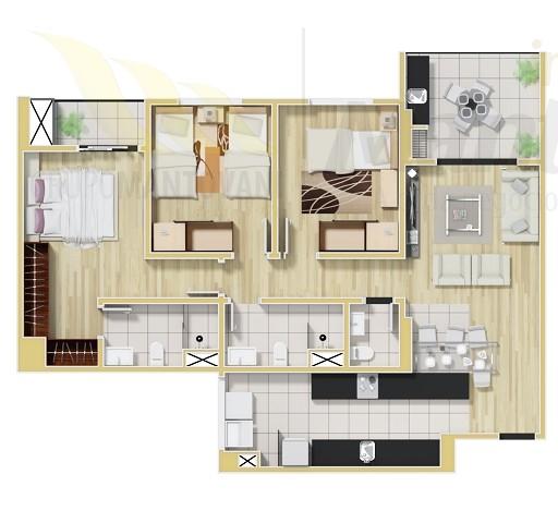 Planta Tipo 88,65 m2