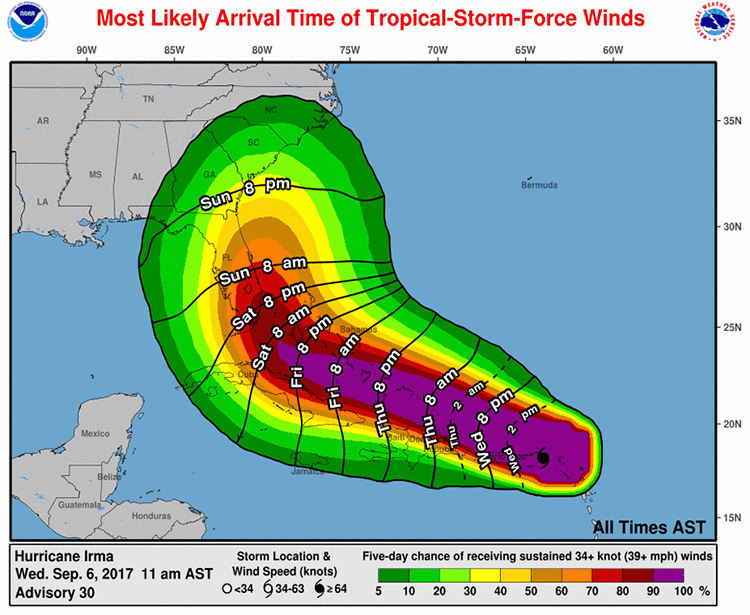 Probability of tropical-storm-force winds from Irma, 15Z 9/6/2017