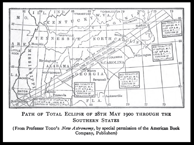 Path of U.S. total solar eclipse, 5/28/1900
