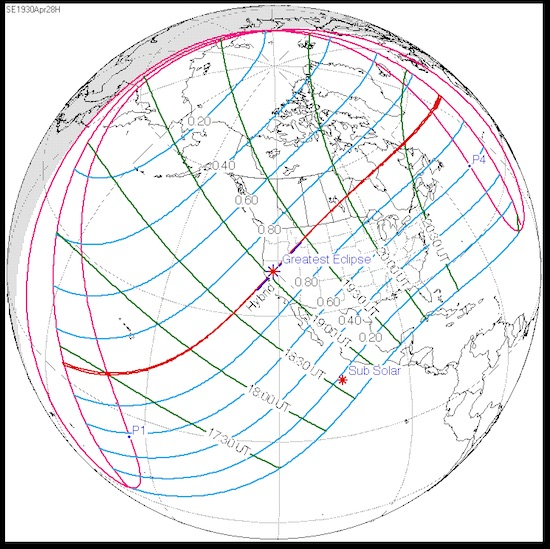 Path of U.S. total solar eclipse, 4/28/1930