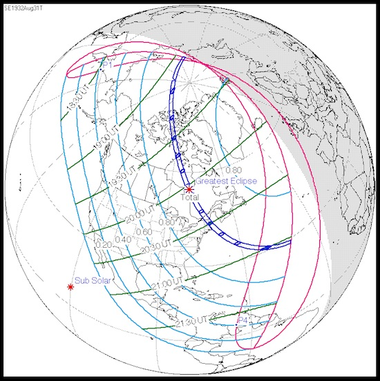 Path of U.S. total solar eclipse, 8/31/1932