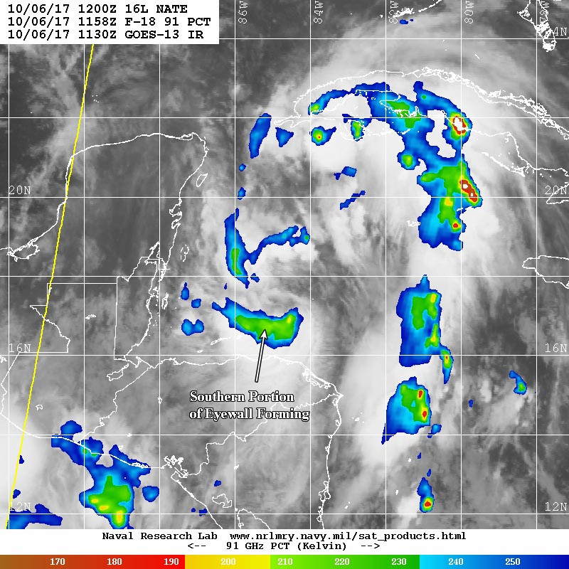 Microwave satellite view of Nate taken at 7:58 am EDT Friday, October 6, 2017 (colored areas, showing where the heaviest precipitation is occurring), overlaid on a GOES-13 infrared satellite image from 7:30 am EDT Friday.
