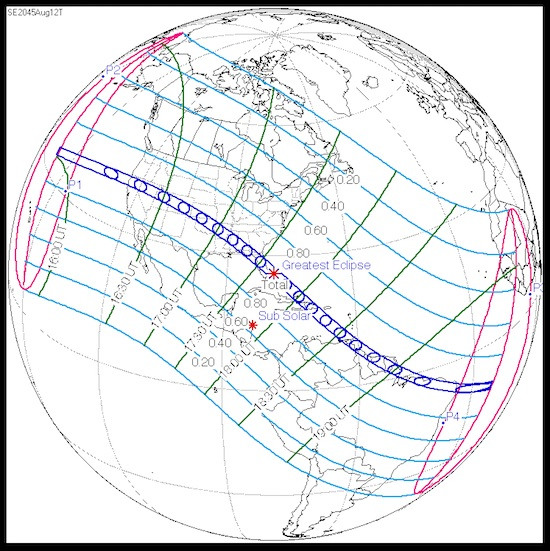 Path of U.S. total solar eclipse, 8/12/2045