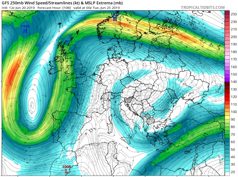 The 12Z Thursday run of the GFS model shows a highly contorted jet-stream pattern at the 250-mb level (about 34,000 feet) by 00Z Tuesday, June 25, 2019,