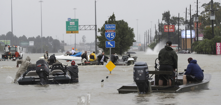 Rescuers in floodwaters of Harvey, 8/28/2017