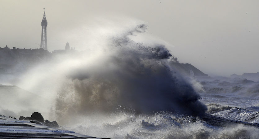 Massive waves crash over seawalls in Blackpool, northwest England, on Wed., Jan 3, 2018
